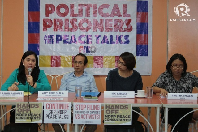 HOPEFUL. (L-R) Rachel Pastores of the Public Interest Law Center, Edre Olalia of the National Union of People's Lawyers, Niki Gamara, and Cristina Palabay of KARAPATAN during a press conference in Quezon City on February 15, 2017. Photo by Darren Langit