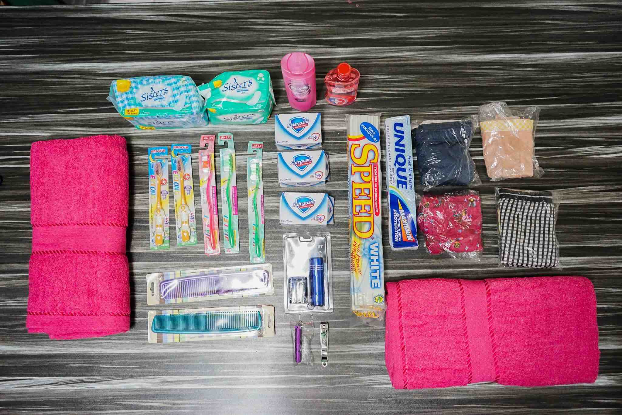 HYGIENE SUPPLIES. The DSWD will distribute dignity kits to families who are still staying in evacuation centers. Photo courtesy of DSWD