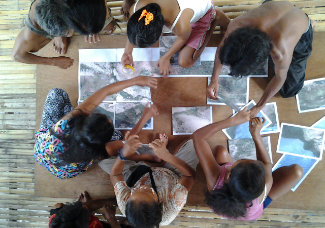 RISK ASSESSMENT. Tagbanua residents map hazards in their community after super typhoon Yolanda with the help of CordAid and Samdhana Institute. Photo courtesy of Samdhana Institute