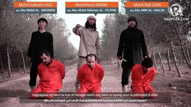 ISIS VIDEO. An Indonesian, Filipino, and Malaysian behead 3 Caucasians and call Muslims to fight the jihad in Syria and the Philippines (screenshot)