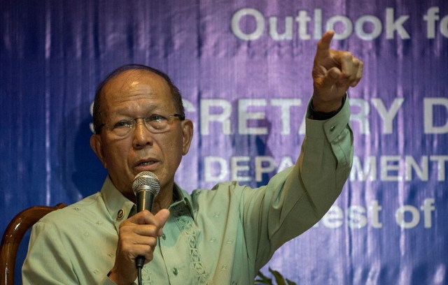 ANTI-PIRACY PATROLS. Department of National Defense (DND) Secretary Delfin Lorenzana gestures during a press conference at the Armed Forces of the Philippines (AFP) headquarters in Manila on March 9, 2017. Photo by Noel Celis/ AFP