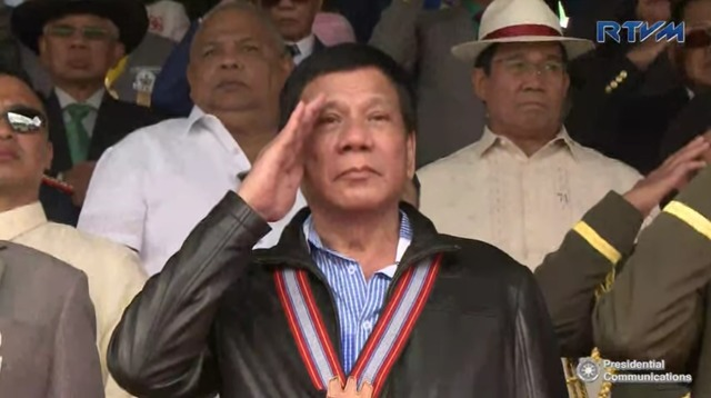 HOMECOMING. President Rodrigo Duterte attends the annual Philippine Military Academy alumni homecoming on February 18. Screenshot from RTVM
